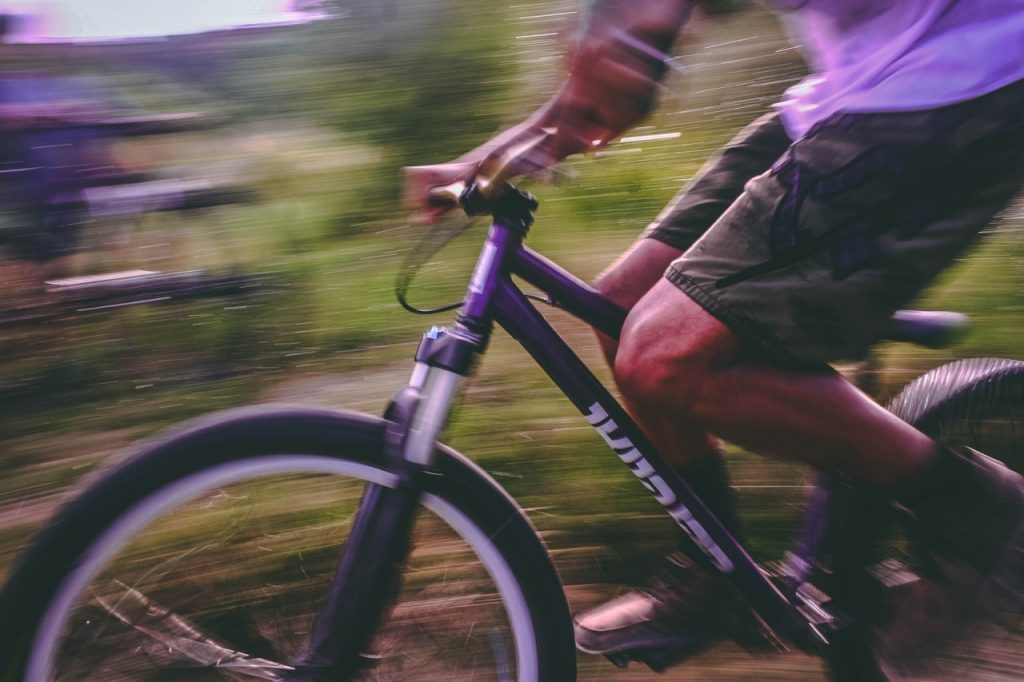 mountain bike in motion